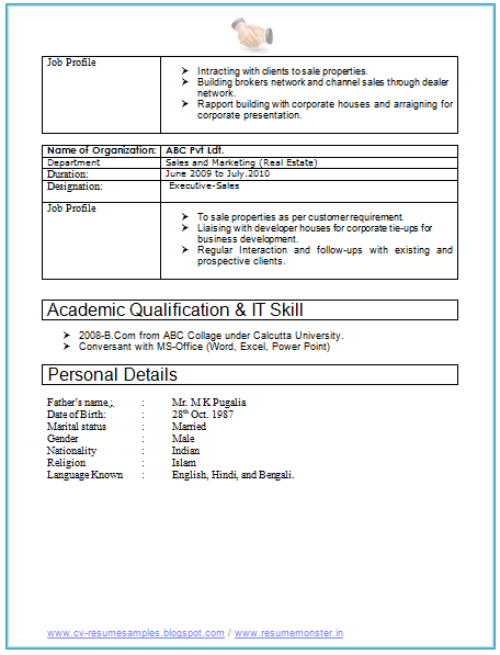 resume format for experienced marketing professionals