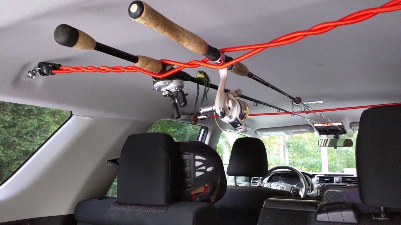 Diy car fishing rod rack for 9 youtube fishing rod