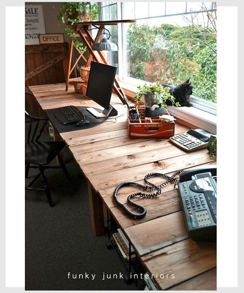 A Farm Table Styled Desk Made Out Of PALLET Boards