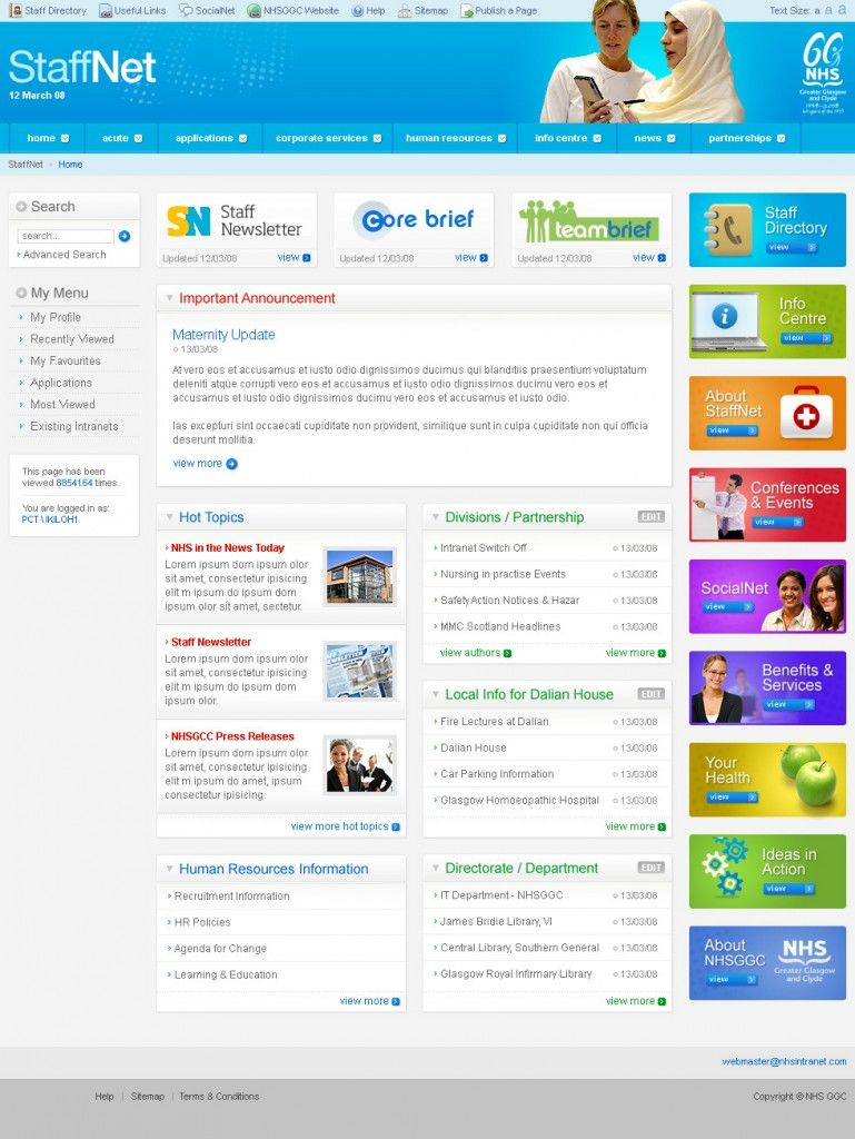 nhs greater glasgow and clyde intranet design - Intranet Design Ideas
