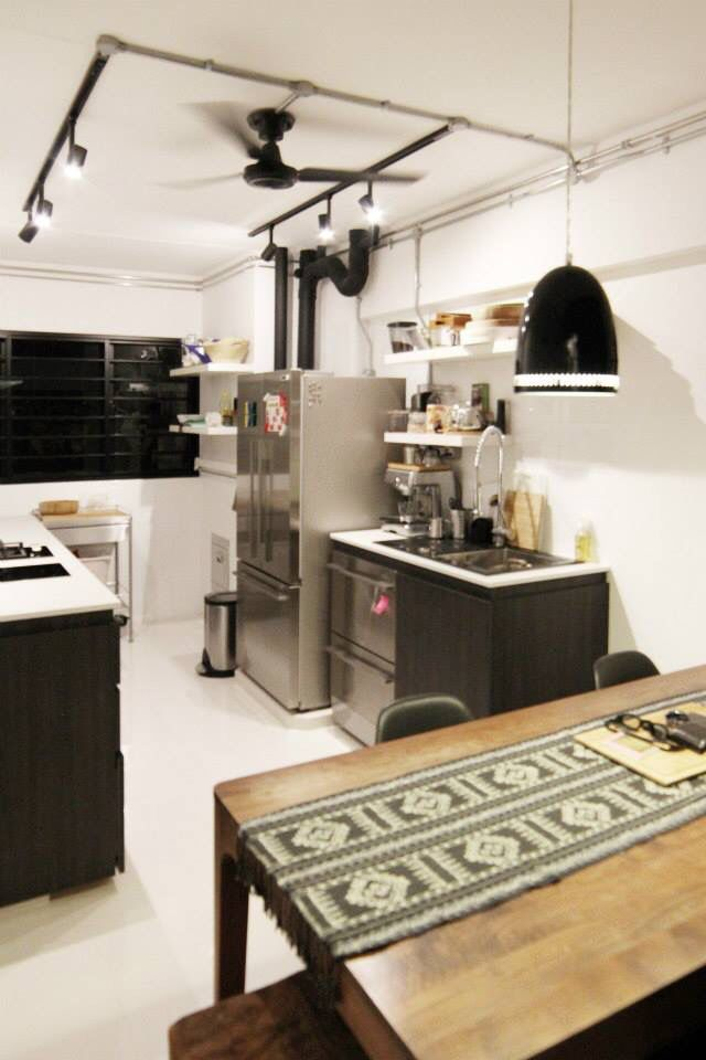 3 room hdb flat in tampines singapore water pipes are painted black to add feature home on kitchen ideas singapore id=17470