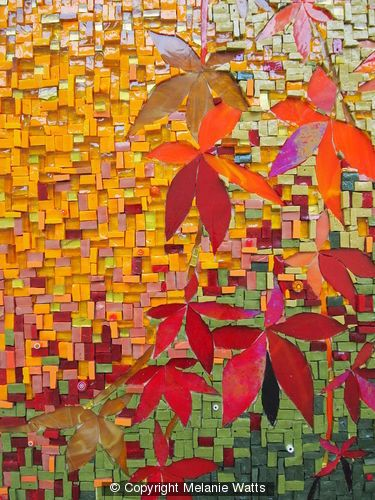 AUTUMN SPLENDOUR - Italian smalti in reds, golds, ochres, yellows and green tones, Italian millefiore, Stained glass...for sale.  £900.