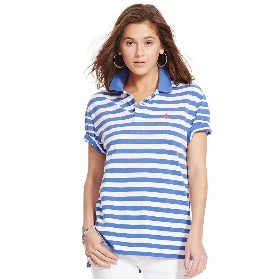 44e98682197d Contrast-Stripe Boyfriend Polo. Polo Ralph LaurenMan ...