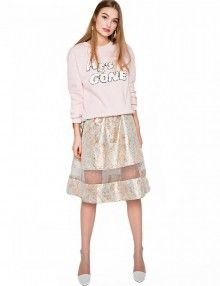 Rose Brocade Midi Skirt