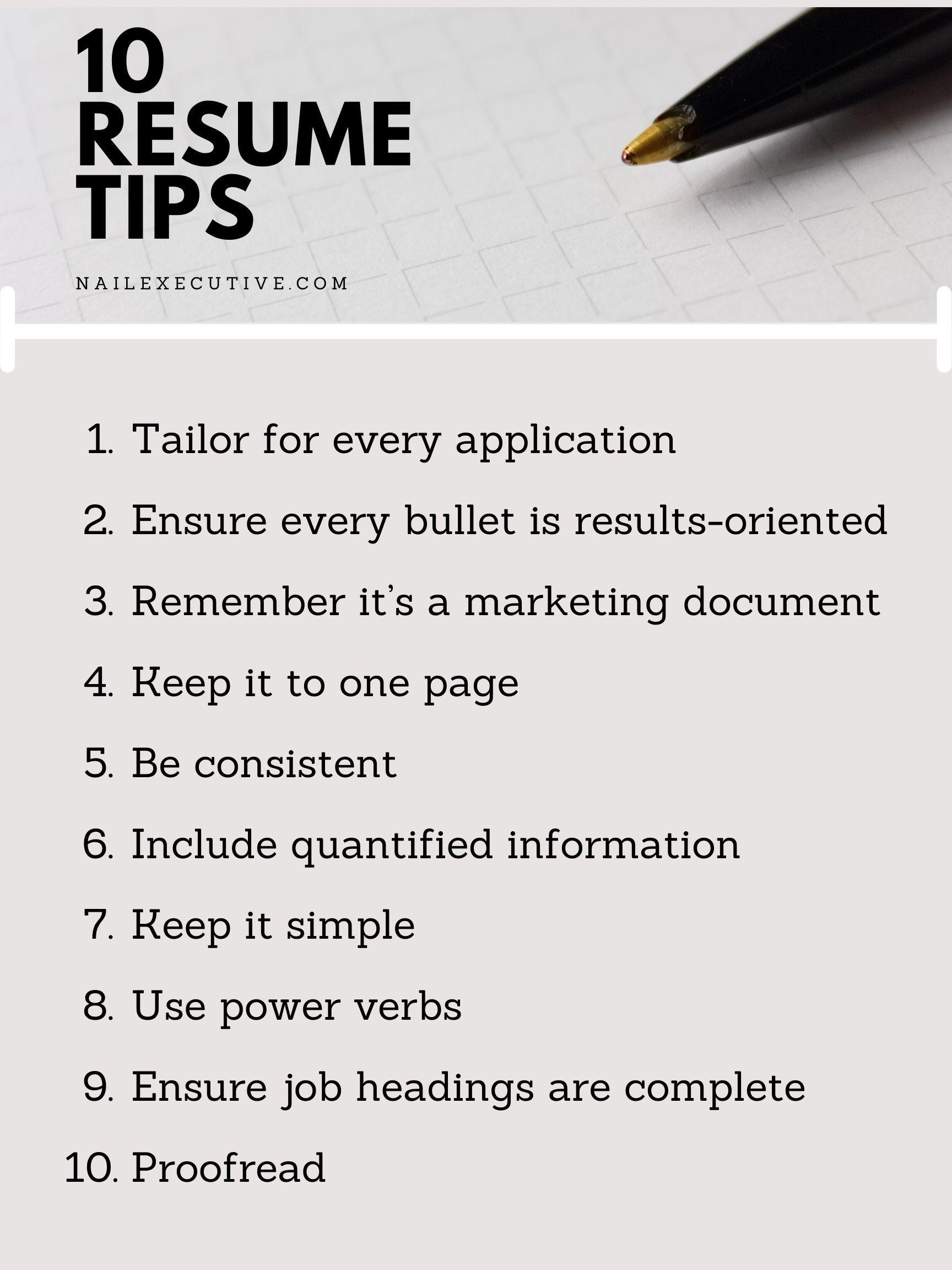 Top Resume Tips in 2020 Resume tips, Resume, Tips