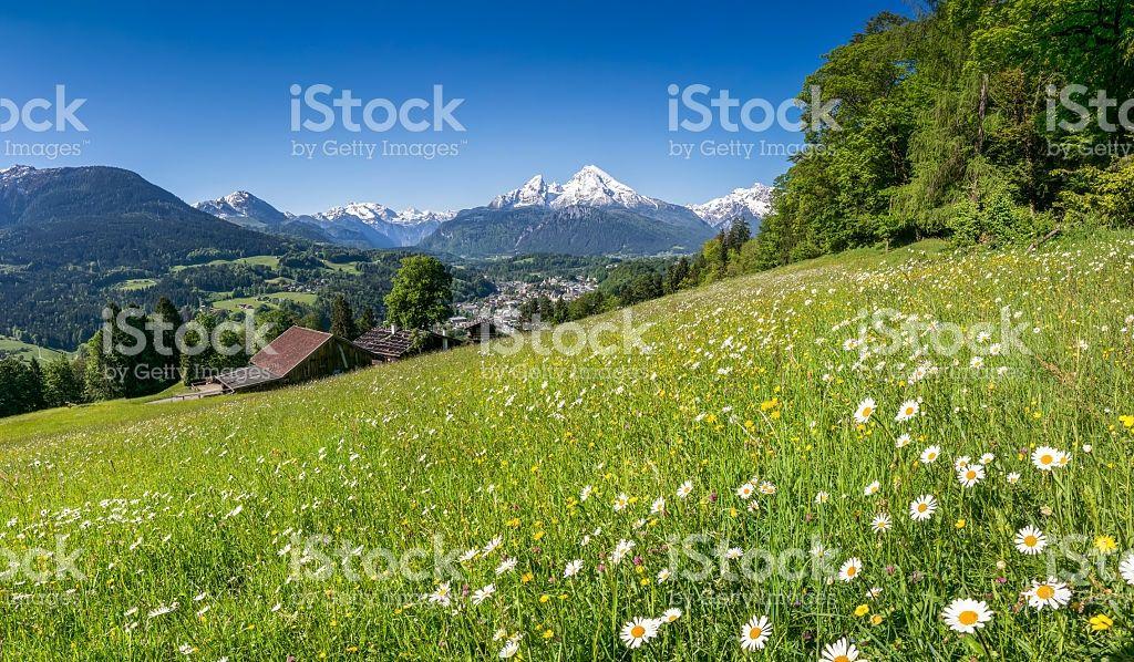 Schöne Landschaft der Bayerischen Alpen im Frühling, Bayern, Deutschland Lizenzfreies stock-foto