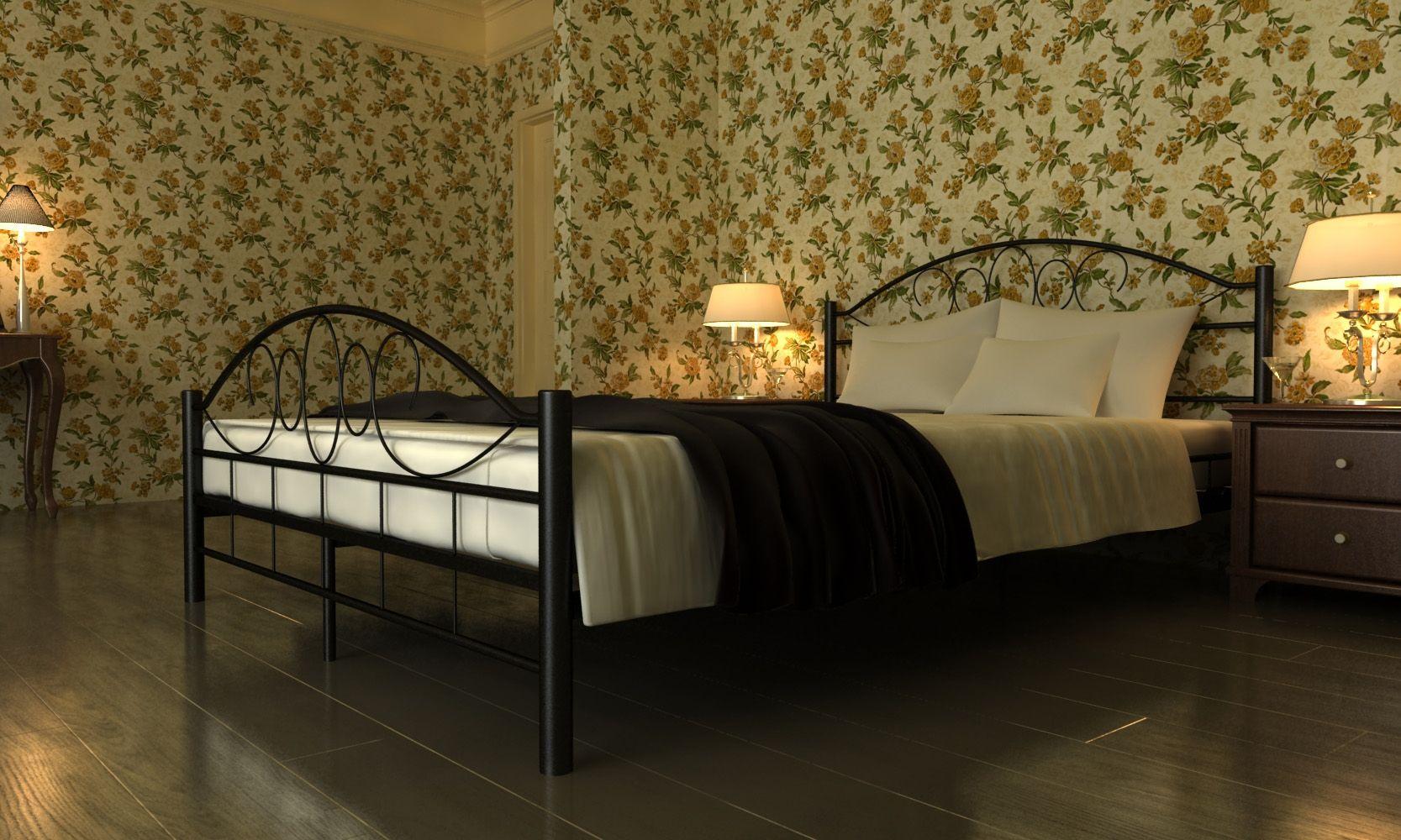 łóżko 140x200 Czarne Metalowe Małżeńskie Kute Stelaż Promocja