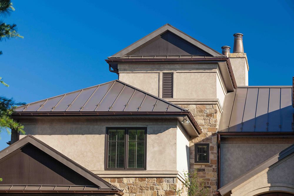 Traditional Metal Standing Seam Flat Seam And Ornamental Diamond Roof Panels From Coppercraft Residential Metal Roofing Roof Panels Metal Roof Colors