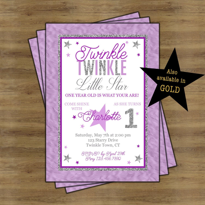 Twinkle Twinkle Little Star First Birthday Invitation; Twinkle ...
