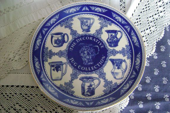 Mason's blue and white plate, The Decorative Jug Collection, made for Ringtons purveyors of tea, Newcastle Upon Tyne.