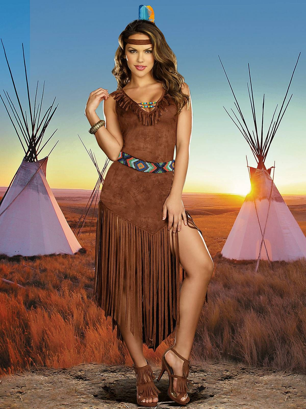 Sexy Hot On The Trail Indian Costume  Sexy Native -8113