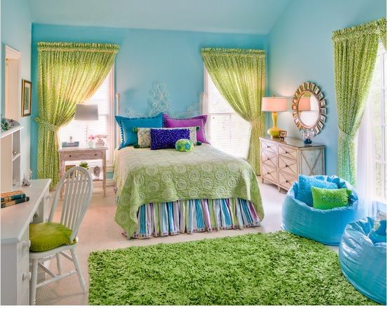 Turquoise And Lime Green Girl S Room Kids Interior Room Tween Room Girl Bedroom Decor