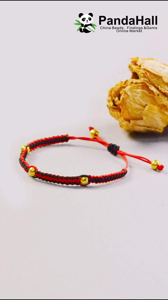 #PandaHall Red and Black Braided Bracelet with Golden beads