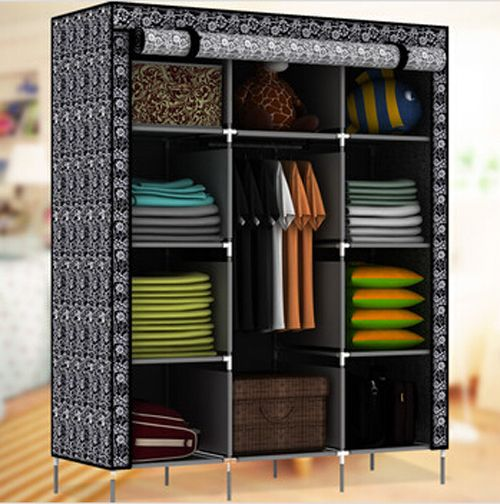 Portable Closet Storage Organizer Wardrobe Clothes Rack