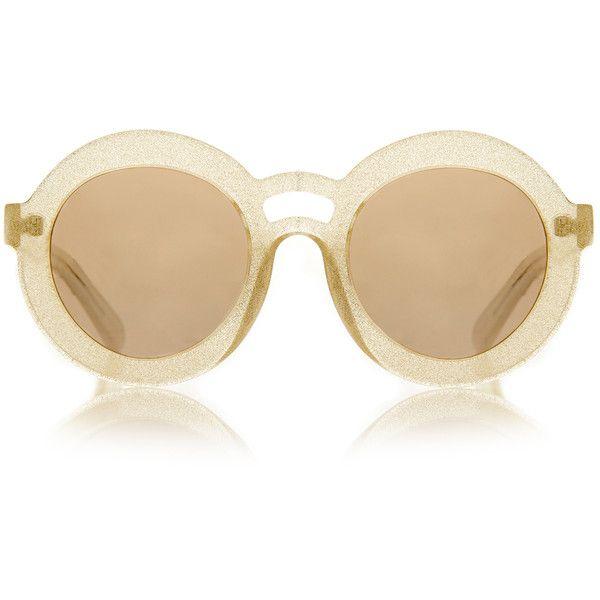 da6acd919a Karen Walker Joyous Gold Glitter Sunglasses (£69) ❤ liked on Polyvore  featuring accessories