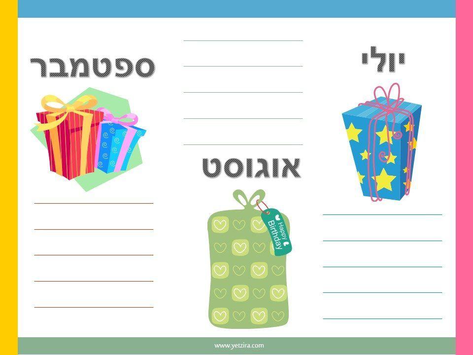 רשימה של ימי הולדת אסיפת הורים Pinterest - birthday list template free