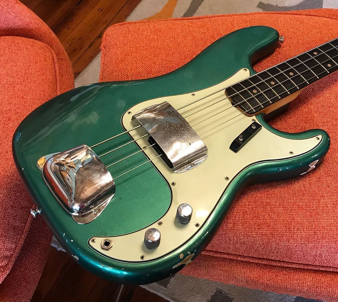 Sherwood Green 1961 Fender Precision Bass Finished By The Inimitable Riggioguitars Already Sold But Had To Squeak Fender Precision Bass Guitar Bass Guitar
