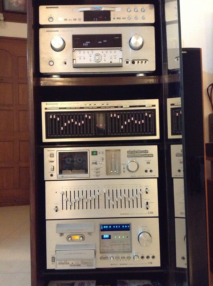 Old And New Stacked Together Vintage Pioneer Kenwood Sony New Marantz Sacd Receiver Analogue Sounds Better Any Day Stereo Systems Stereo System Hifi Audio
