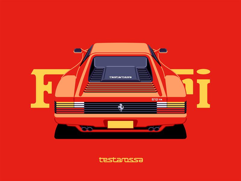 Testarossa Retro Illustration Retro Cars Graphic Design Art