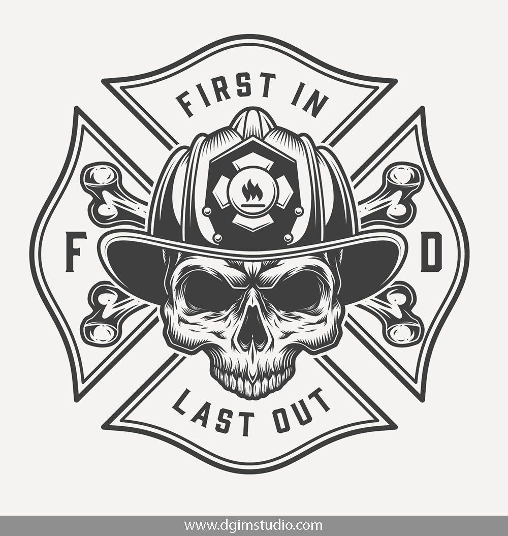 Skull creator Fireman tattoo, Firefighter decals