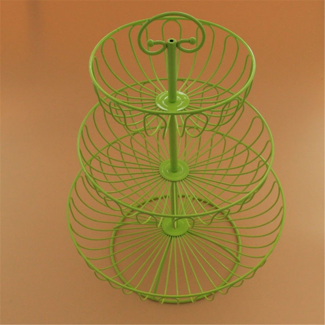 Christmas supplies 3 tier wrought iron wire fruit display basket ...