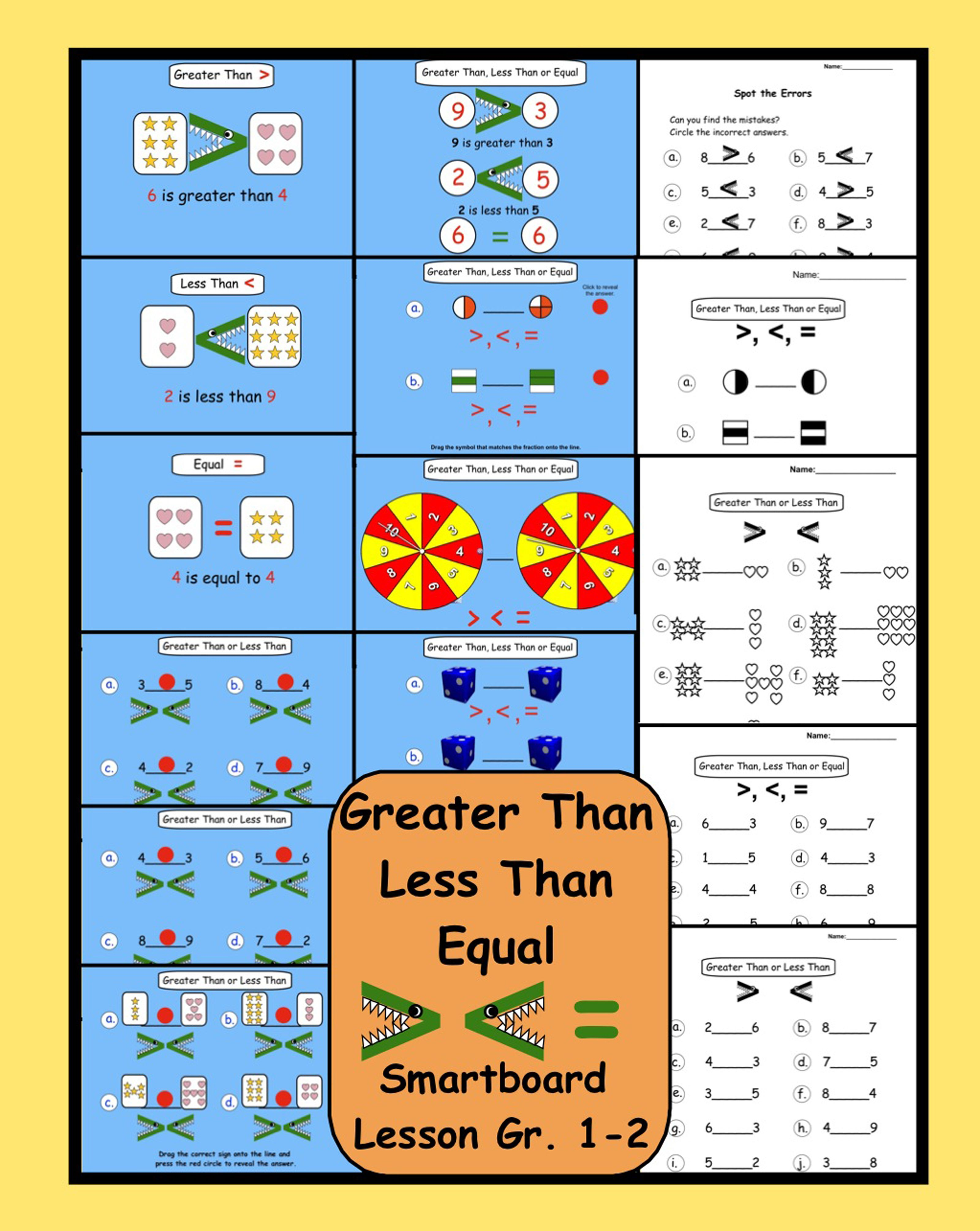 Greater Than Less Than Equal Interactive Smartboard