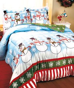 Details About Snowman Snowflake Party Christmas Comforter Bedding