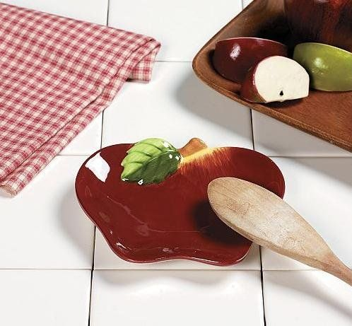 Apple Kitchen Decor   Apple Themed Spoon Rest Soap Dish Country Kitchen  Home Decor .
