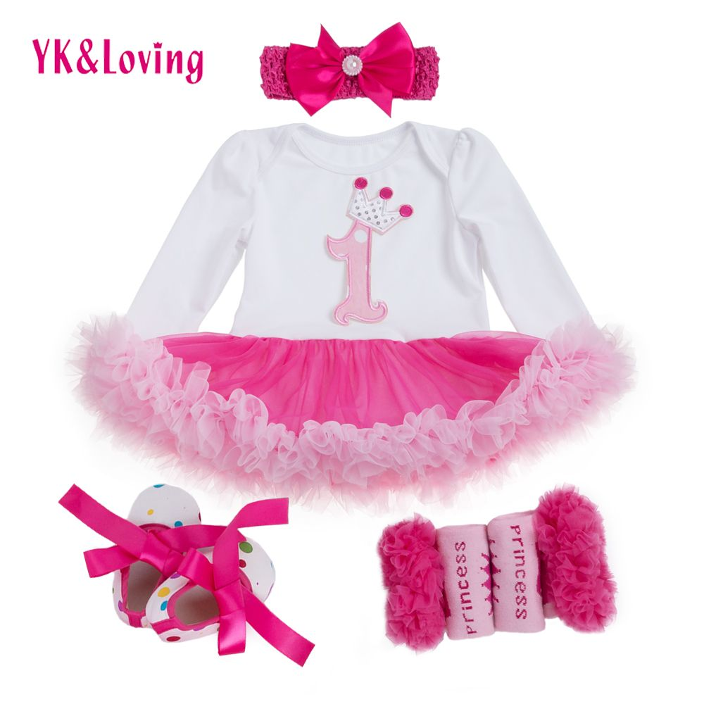 Cool 1 st Girls Bodysuit Baby Girl Clothes Baptism Dresses Pink Long ...