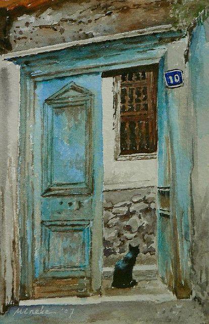 10 Numaradaki Kara Kedi, Ankara Kalesi - Black Cat at Number 10, Ankara  Citadel | Art, Black cat art, Watercolor cat
