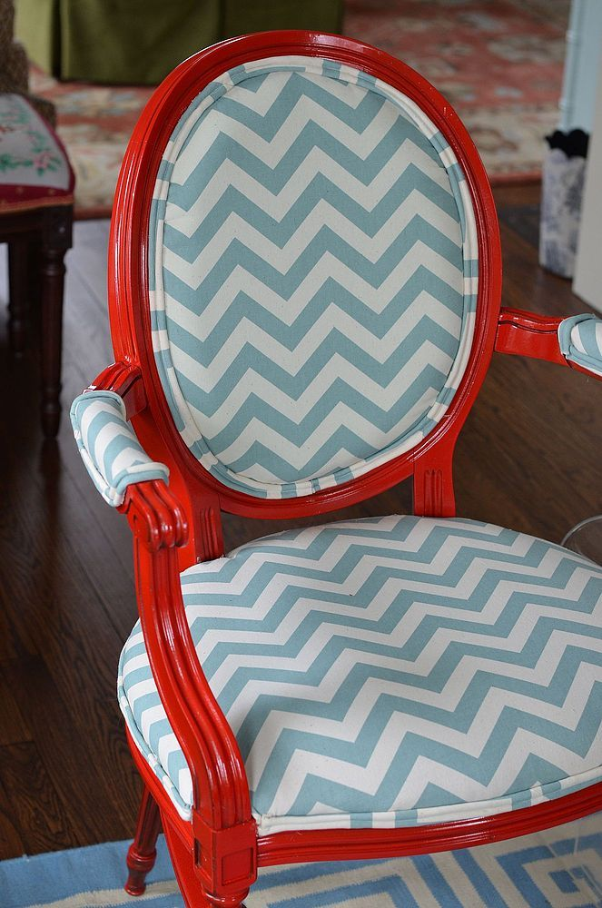 Re Upholstered Red And Blue Chevron Chairs