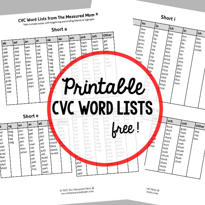 Free printable CVC word list | Escuela