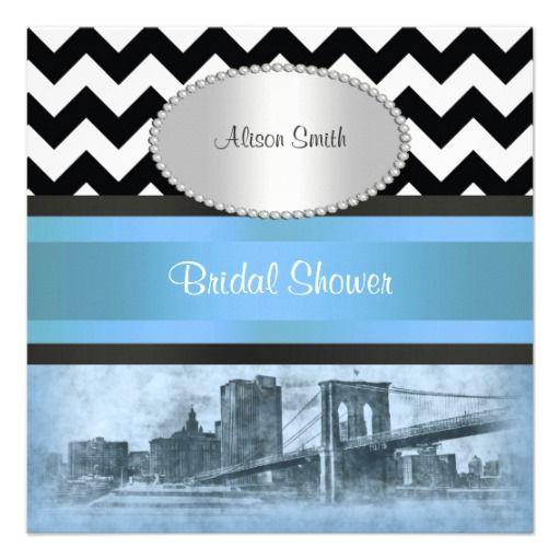 NYC Skyline Brooklyn Bridge BW Blu P Bridal Shower Personalized Invitations