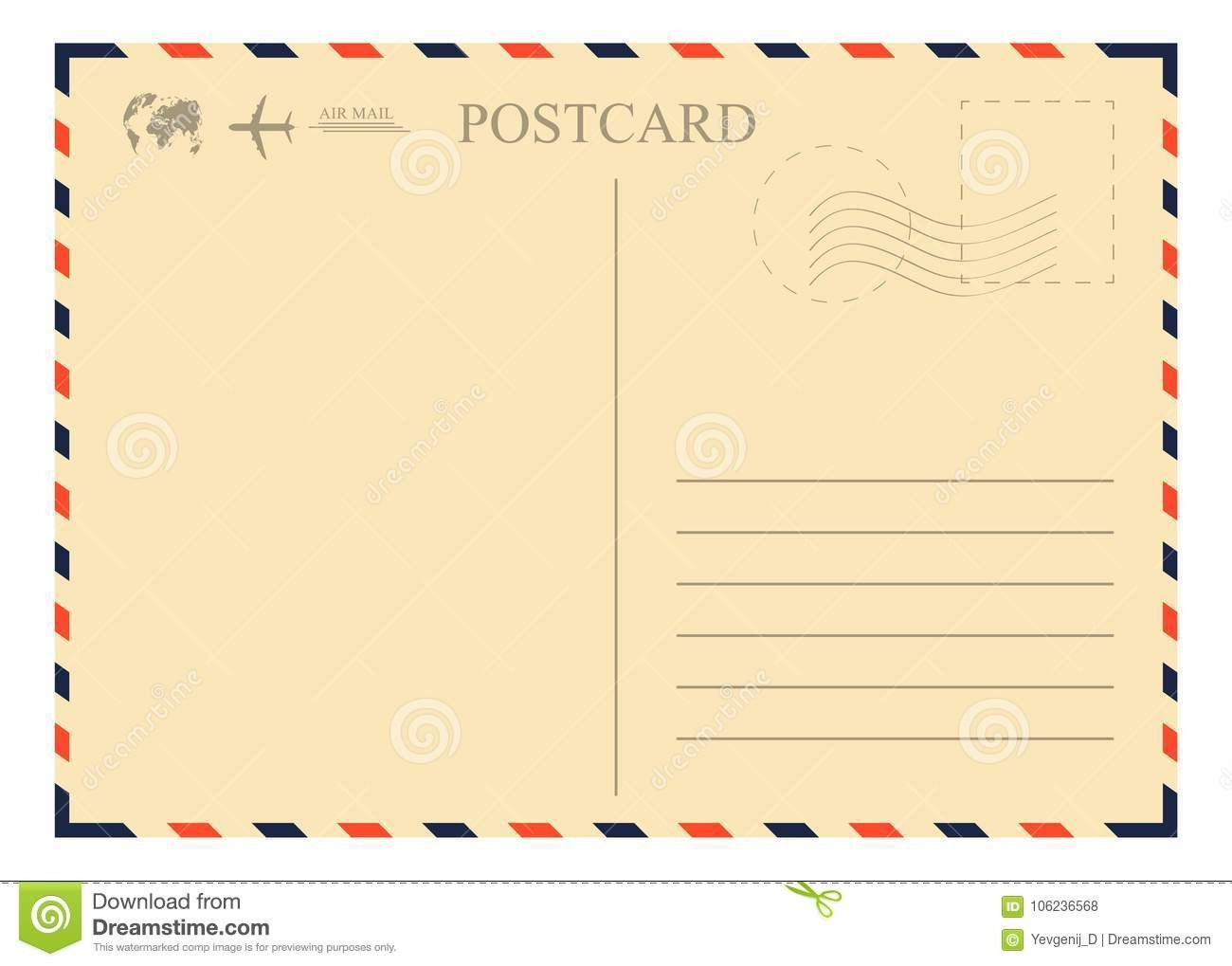 Air Mail Envelope Template Lovely Vintage Postcard Template Retro Airmail Envelope With Stamp In 2020 Postcard Template Envelope Template Envelope Design Template