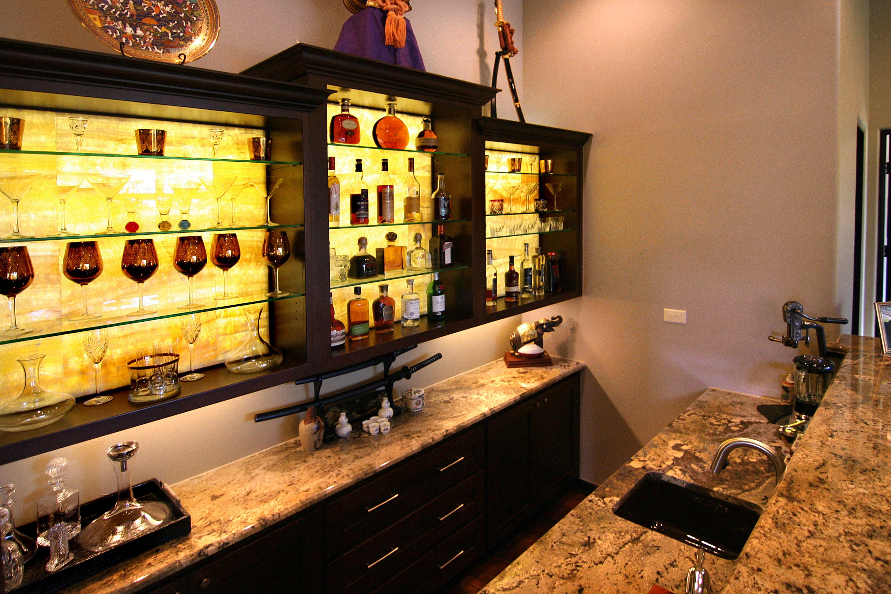 Hill country modern backlit onyx bar by zbranek holt for Custom wine bar