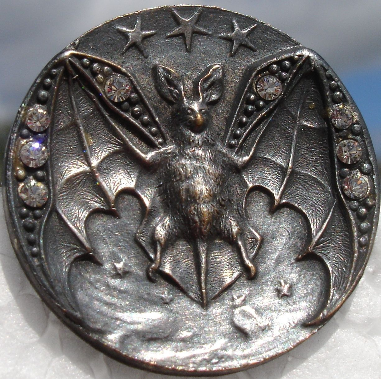 1940s French metal bat button with rhinestones (US $74.50)
