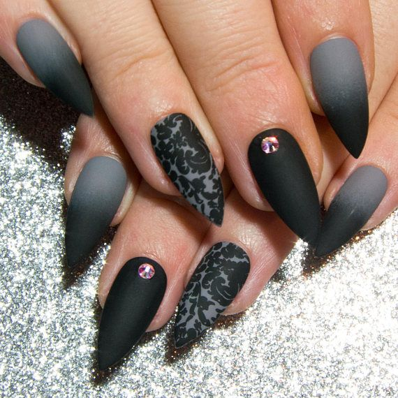These gorgeous gothic nails feature a black and grey ombre ...