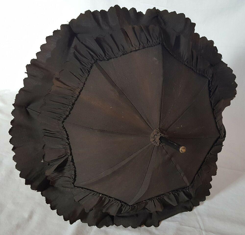 Antique Black Victorian Mourning Parasol Folding Handle ...