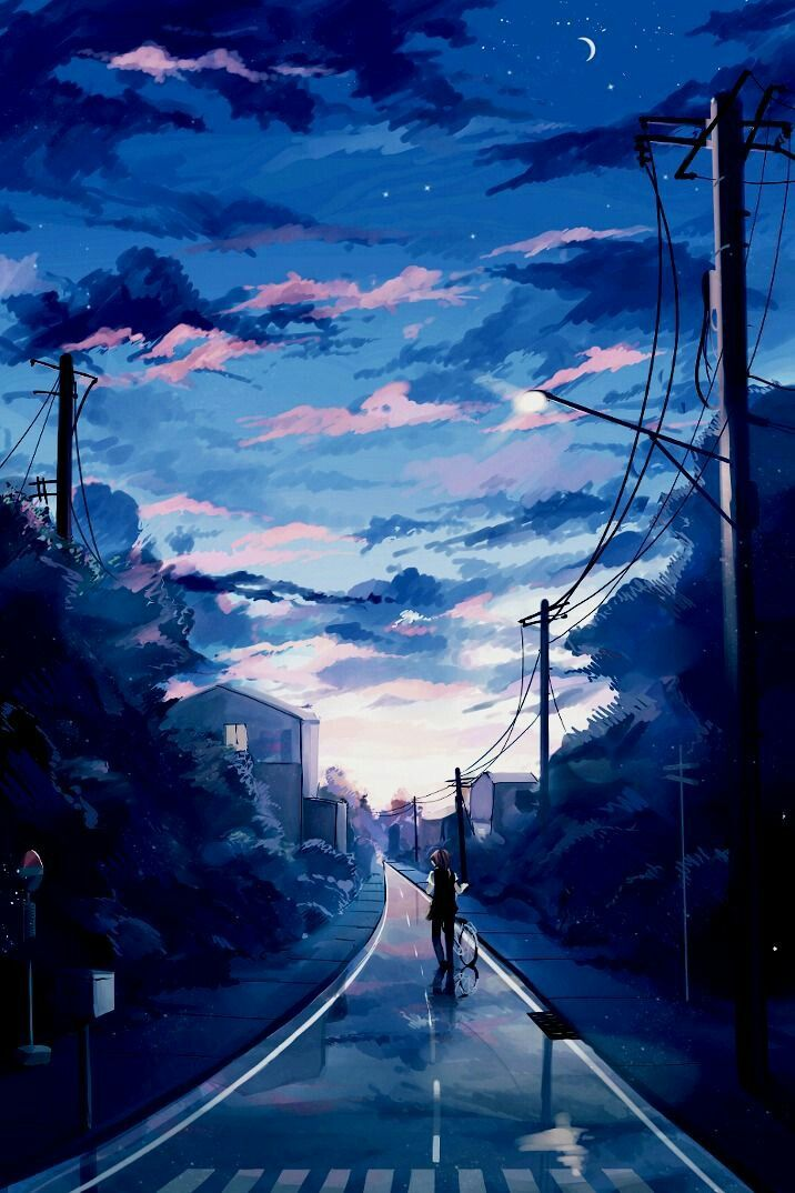 Anime wallpaper beautiful morning sky phone - Blue anime wallpaper ...