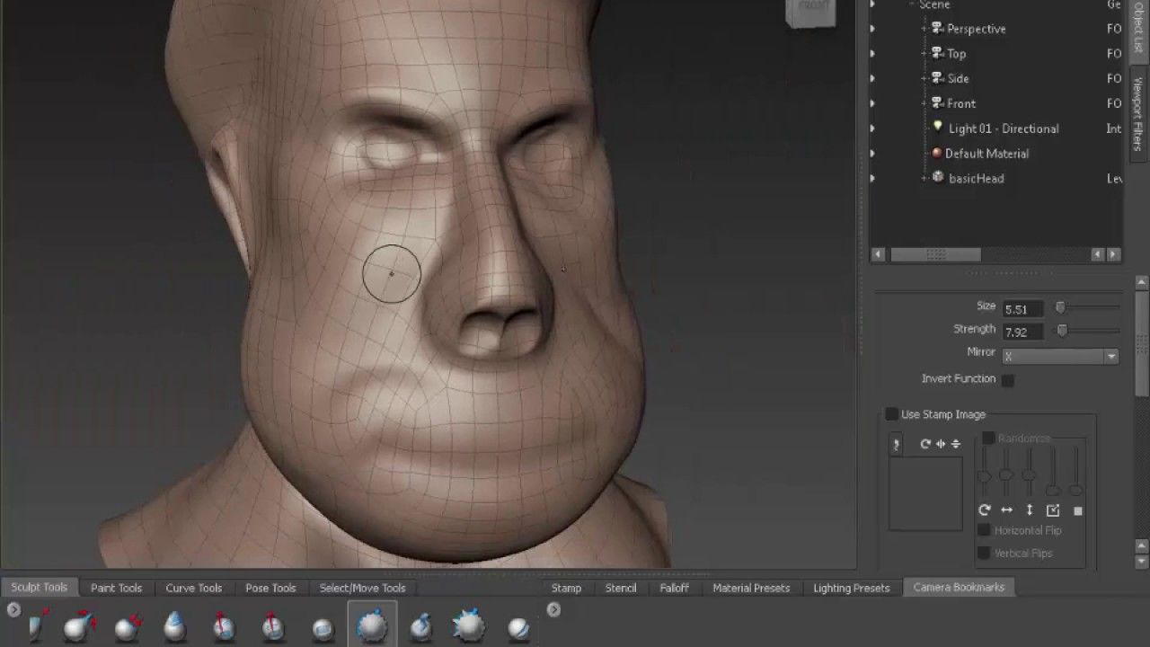 Mudbox basic head sculpting tutorials for Beginners | Mudbox