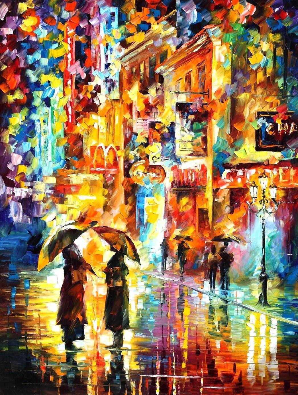 RAINY ENCOUNTER - Original Oil Painting On Canvas By Leonid Afremov http://afremov.com/TEA-TIME-Original-Oil-Painting-On-Canvas-By-Leonid-Afremov-30-X40-SKU18893.html?bid=1&partner=20921&utm_medium=/vpin&utm_campaign=v-ADD-YOUR&utm_source=s-vpin