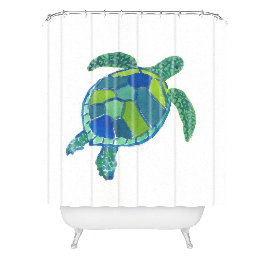 Laura Trevey Sea Turtle Shower Curtain   Sea turtles, Bathroom ...