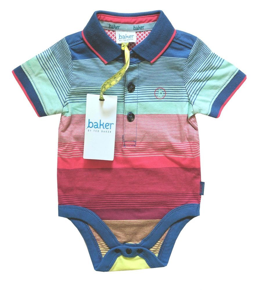66eac7f490c303 Ted Baker Baby Boys Polo Romper Vest Bodysuit Striped Rainbow ...