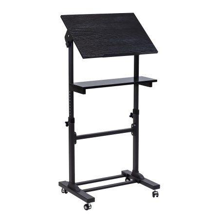 Mount-It! Mobile Stand Up Desk / Presentation Lectern Height-Adjustable Multi-Purpose Standing Workstation, Black