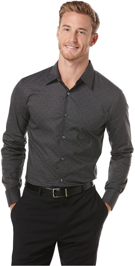 gray patterned oxford. black pants. black belt. easy. classic/modern.