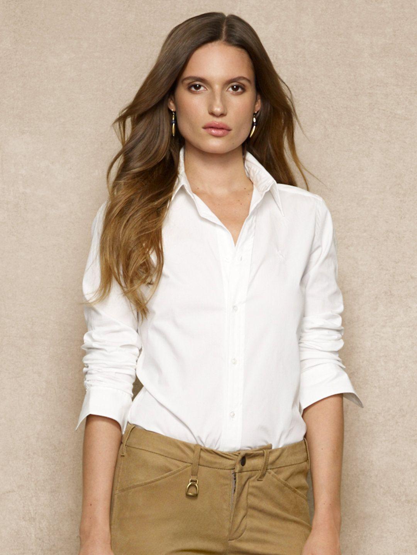 Super slim fit poplin shirt by ralph lauren working lady for White oxford shirt women