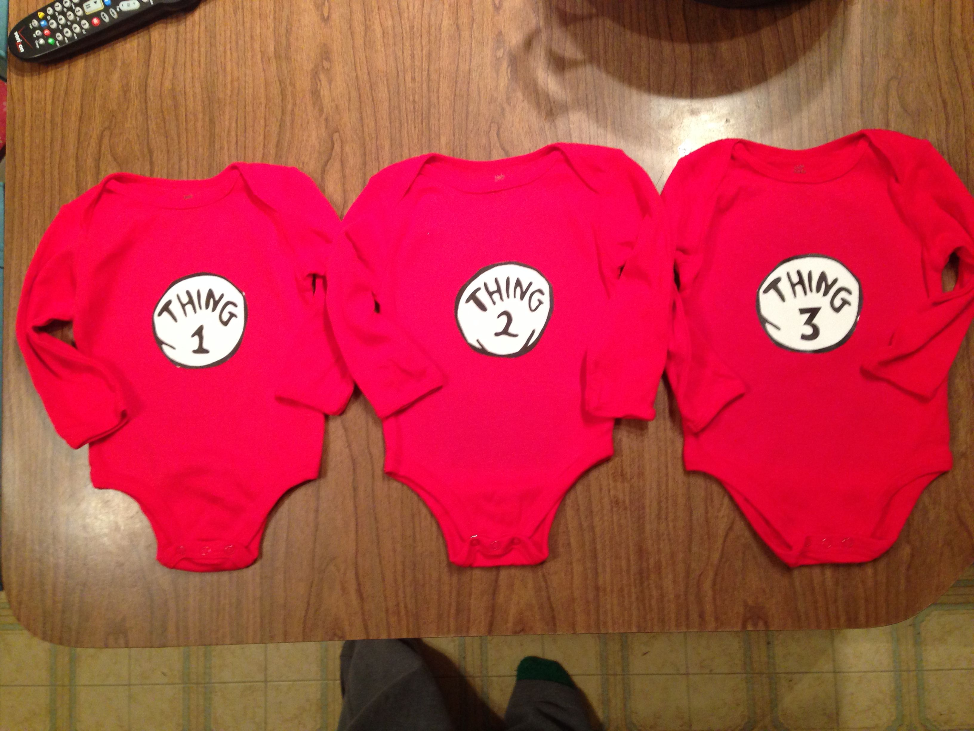 """Triplet onsies! Google """"Thing 1"""" and save images to"""