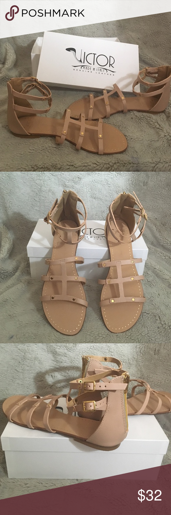 Gladiator Light Pink Victor Nude Short Style Sandals OikXZuP