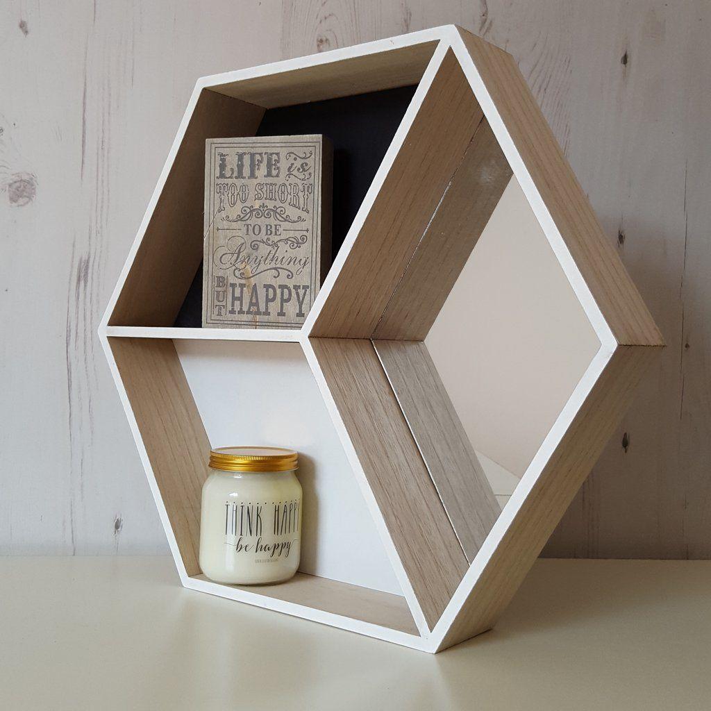 Stunning Hexagon Shelf With Mirror