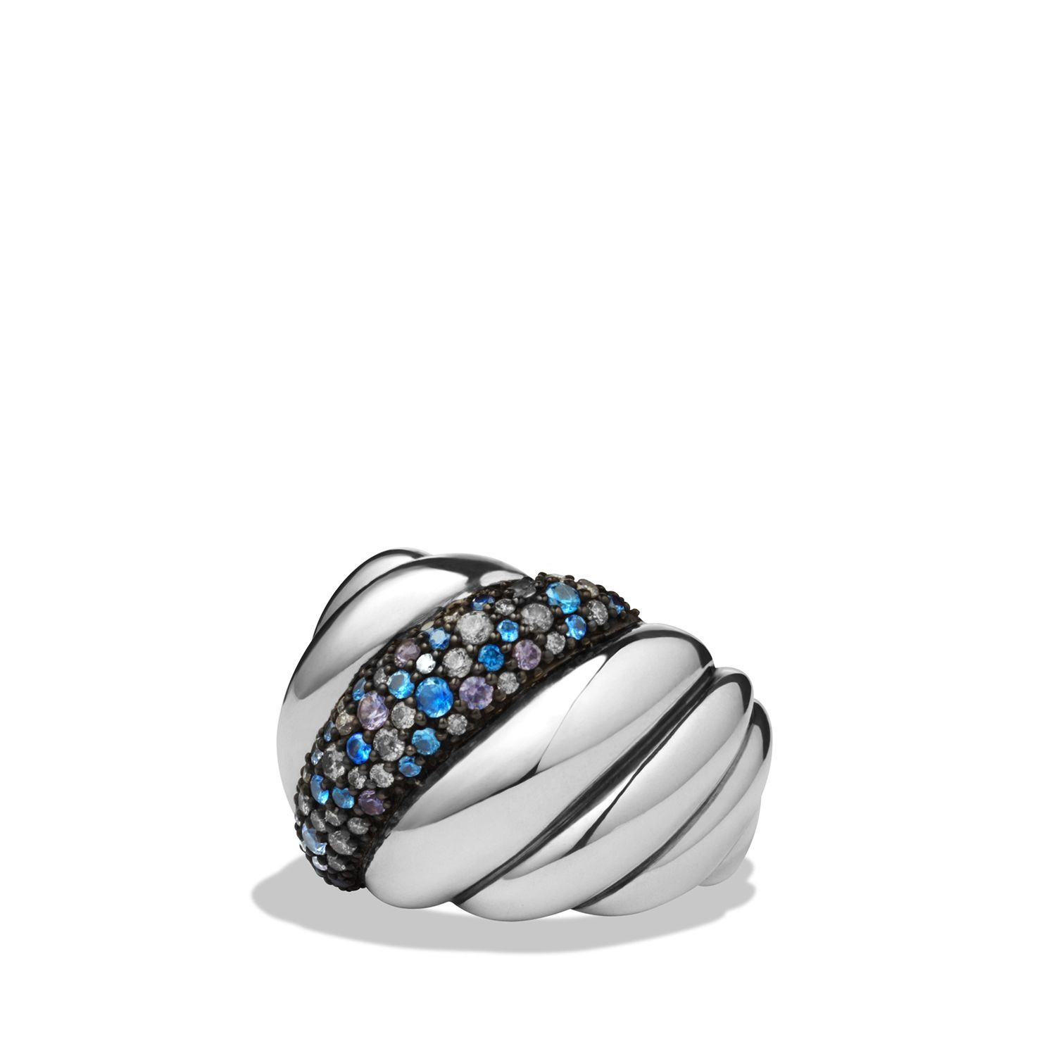 DY Hampton Cable Ring with Gray Diamonds and Blue Sapphires